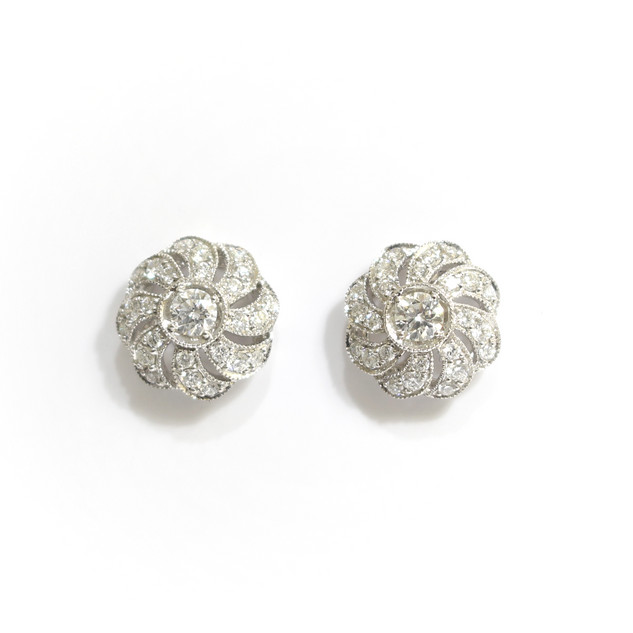 18ct white gold diamond catherine wheel stud earrings.  £1,850.00