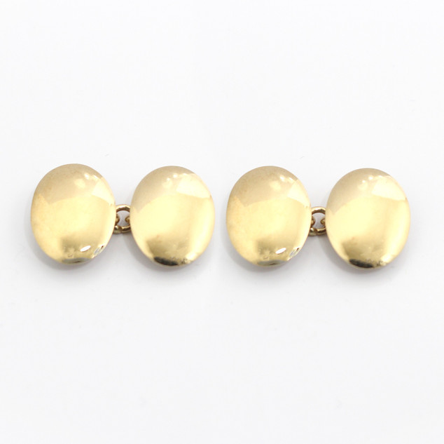 9ct yellow gold domed oval cufflinks. Dated Birmingham 1967. £650.00