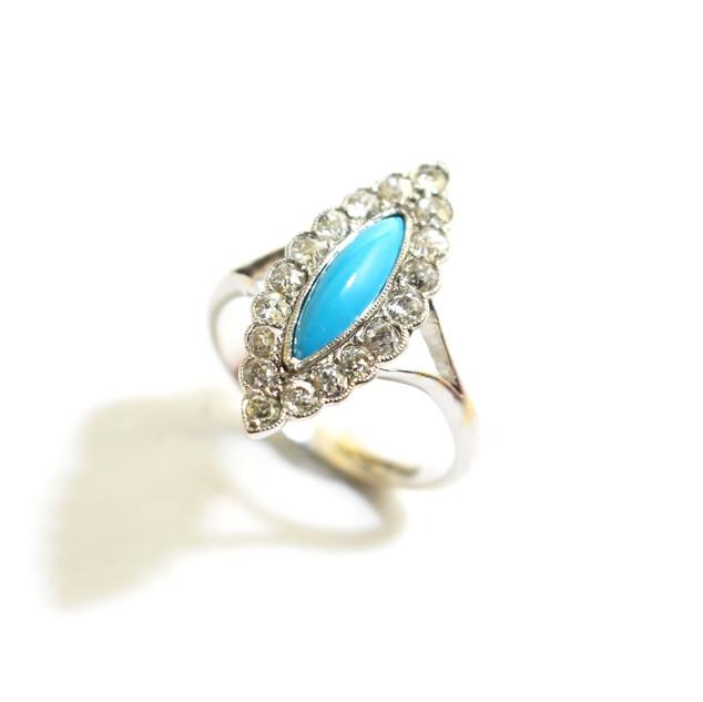Platinum turquoise and diamond lozenge shaped ring. £1,450.00