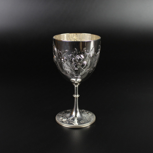 Chaste fruit and scroll goblet 1865  4 ¾ inches  £325.00