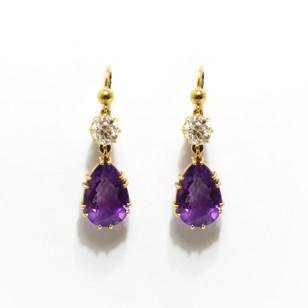 Late Victorian amethyst and old cut diamond drop earrings. With modern shepherds hook fittings. £2,250.00