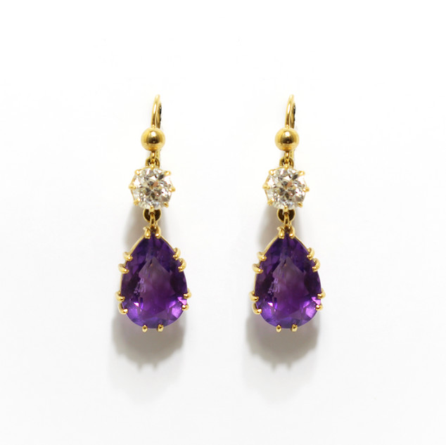 Late Victorian amethyst and old cut diamond drop earrings. With modern shepherds hook fittings. £2,250.00