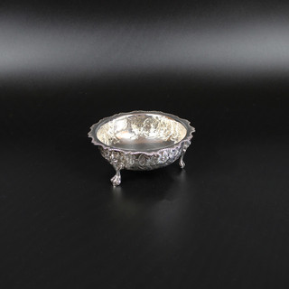 Edward Hutton 1884 Bonbon dish 4 ¾ inch diameter Floral chase with grotesque masks to feet  5 ¼ oz £ 185.00