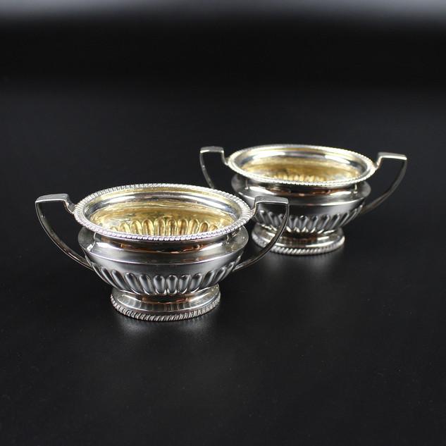 Pair half fluted gilded inside  Marks worn  London perhaps 1807  5 ½ oz £220.00