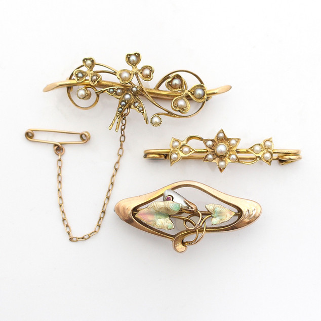 We have a range of early and contemporary gold, seed pearl and enamel brooches. Please enquire for prices.