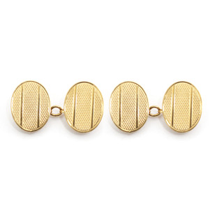 9ct yellow gold, engine turned oval chain cufflinks with polished band. London 1947. £275.00