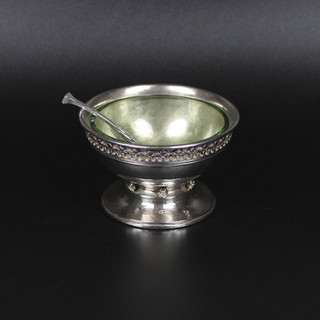 Omar Ramsdon London 1935  Hammered body with Art Nuevo boarder and rosebud to knop.  The, probably original, pail green glass liner is included with matching spoon.  4 oz 10 dwt £ 975.00