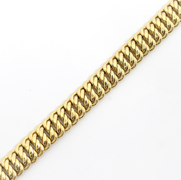 18ct yellow gold wide fancy platted curb link bracelet with invisible clasp, Italian, late 20th century. Pristine order. 38.83g. £2,250.00