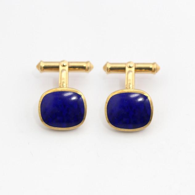 9ct yellow gold T-bar cufflinks set a lapis lazuli. Sheffiled 2008. £650.00