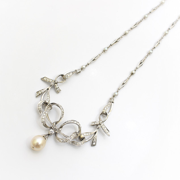 18ct white gold pearl and diamond set necklace. Total diamond weight estimated at 3cts. £4,500.00