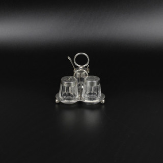Small condiment set of silver and glass. Hulkin & Heath 1883 Base- 1 1/2 oz  £ 175.00