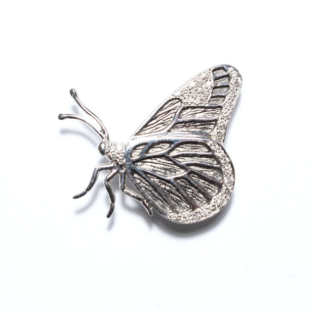 18ct white gold diamond set butterfly brooch. £1,100.00