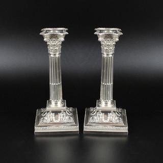A pair of Corinthian column candlesticks. Sheffield 1896. 8.5 inches  £ 1,250.00