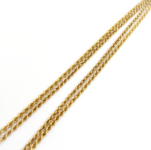 18ct yellow gold hollow rope link necklace. Total length 52 inches. £1,850.00