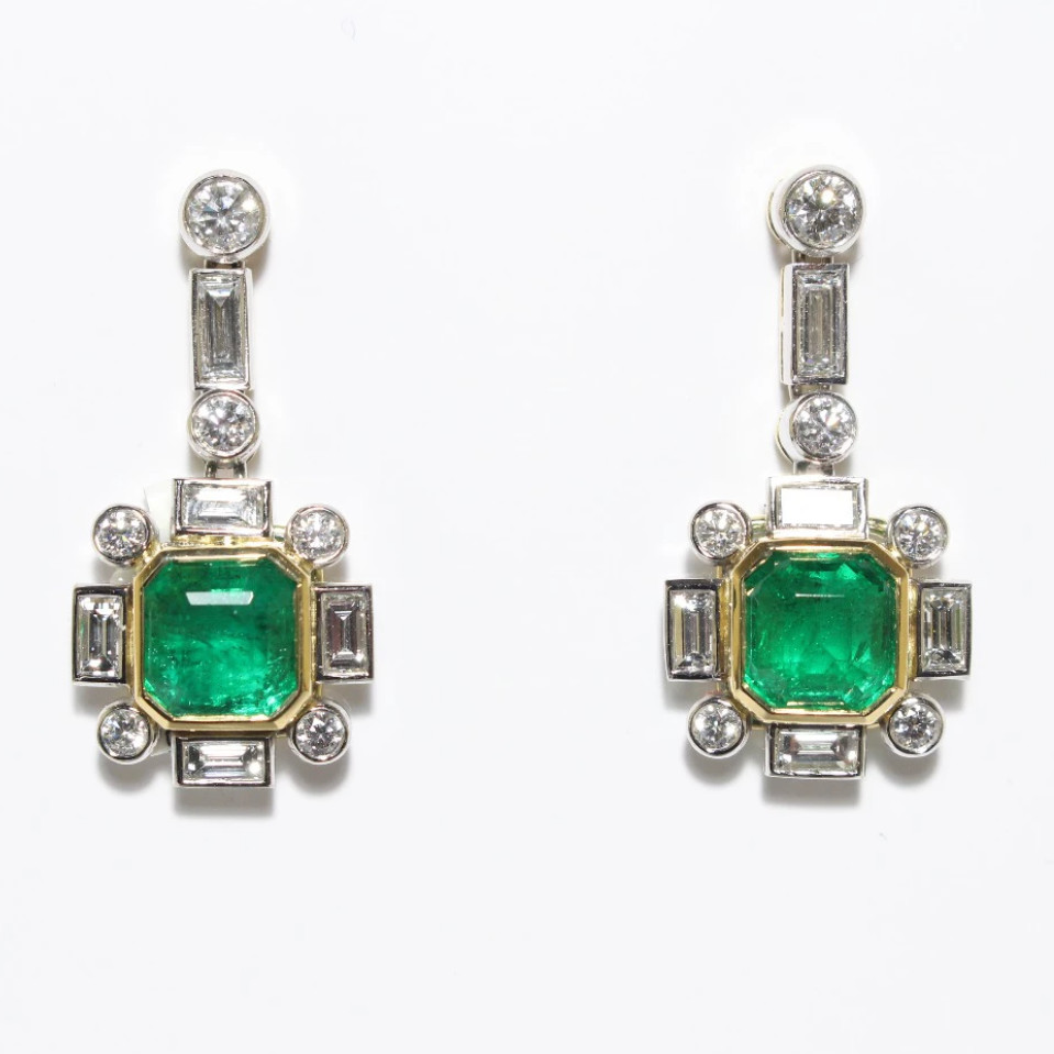 with emerald emeralds stud the yellow cut baton square gold drop co grey earrings diamonds diamond of white brilliant file and harris surround