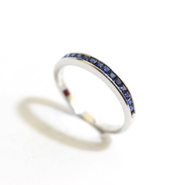 18ct white gold sapphire half eternity ring, 0.41ct. £650.00
