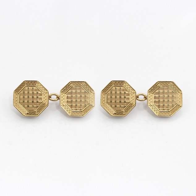 9ct yellow gold octagonal chain cufflinks with checked engine turned design. £525.00
