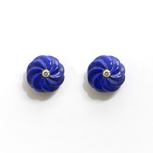18ct white gold carved lapis lazuli and diamond stud earrings. £750.00