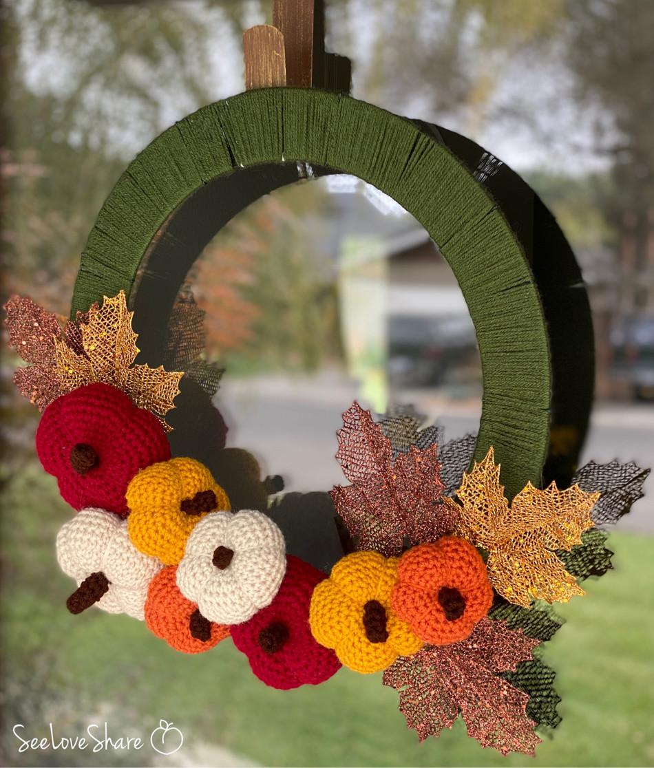 Crochet Pumpkin Wreath