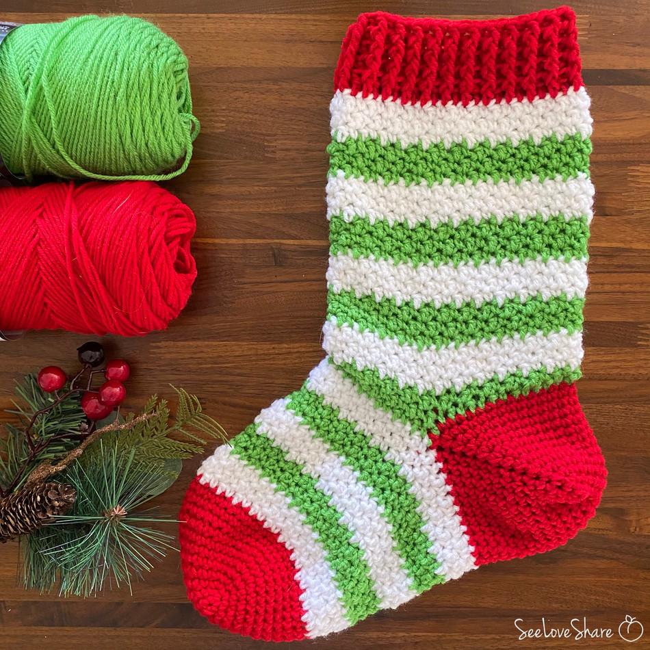 Elf-ie Christmas Stocking - Free Crochet Pattern