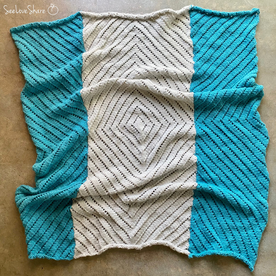 Geometric Eyelet Throw - Free Knit Pattern