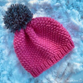 Quickie Seed Stitch Beanie - Free Knit Pattern