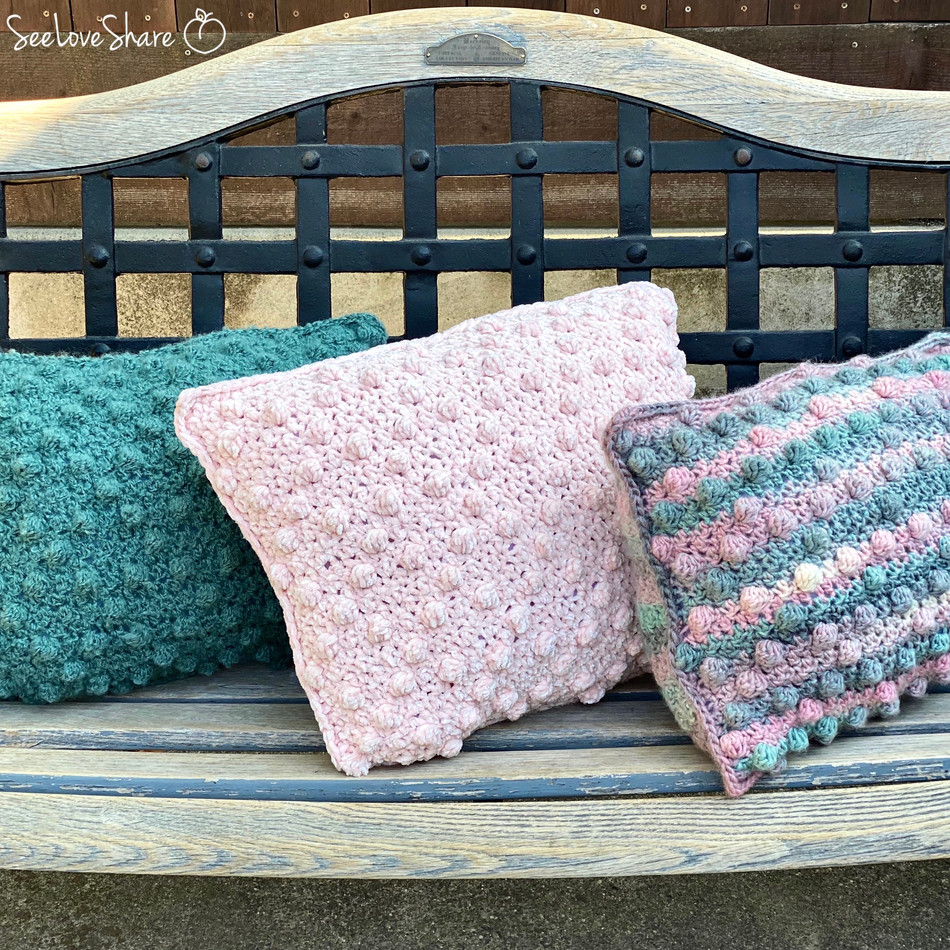 Crochet Bobble Pillow Trio - Free Pattern