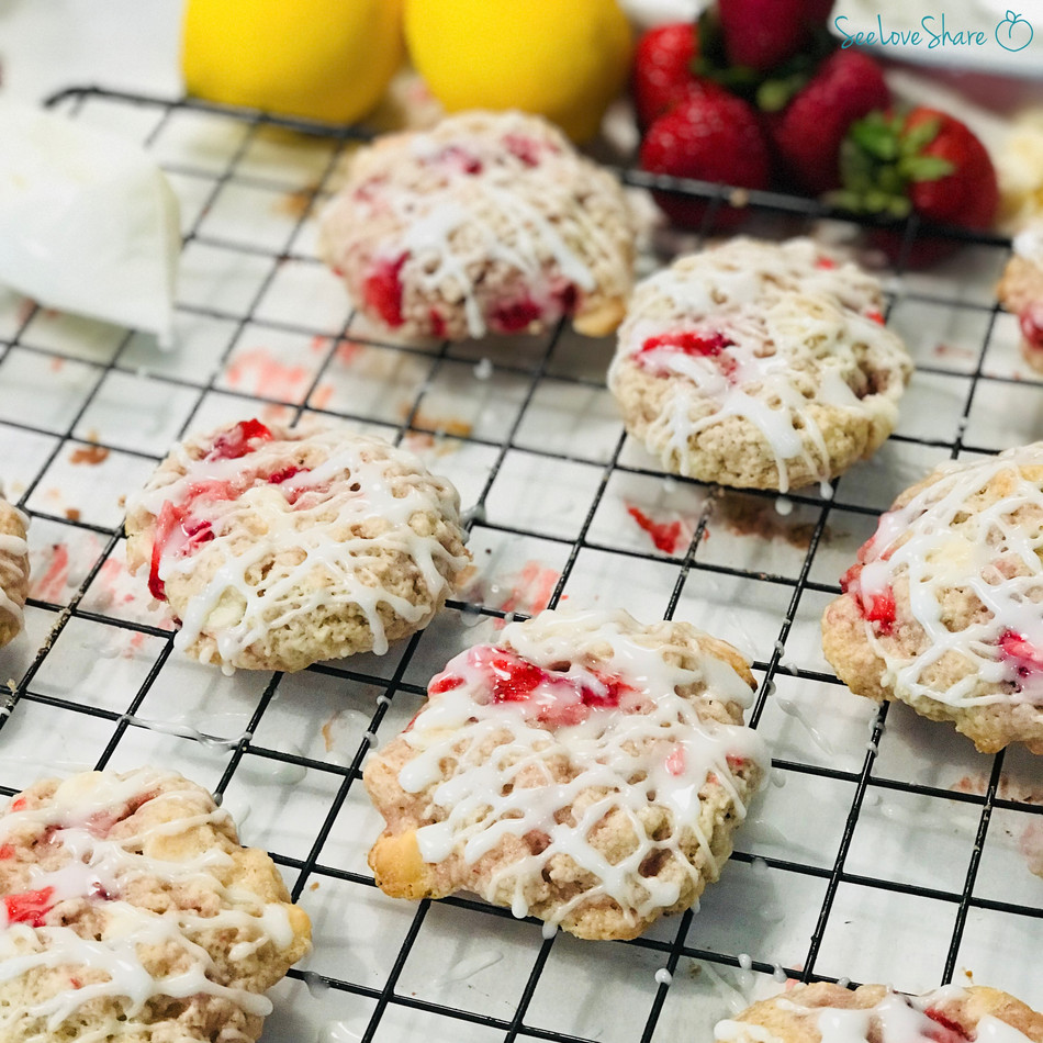 White Chocolate Strawberry Shortcake Cookies (with Lemon Glaze)