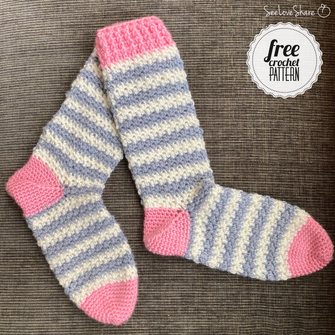Softee Striped Socks - Free Crochet Pattern