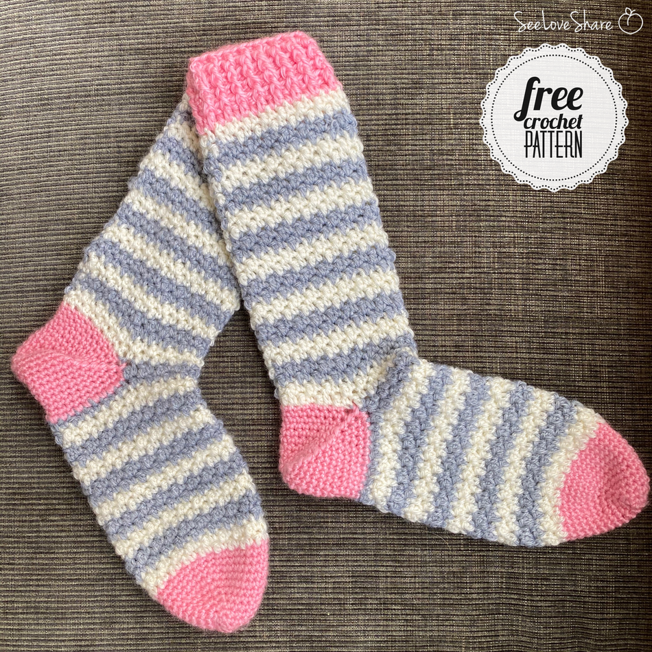 Softee Striped Socks - Free Crochet Pattern