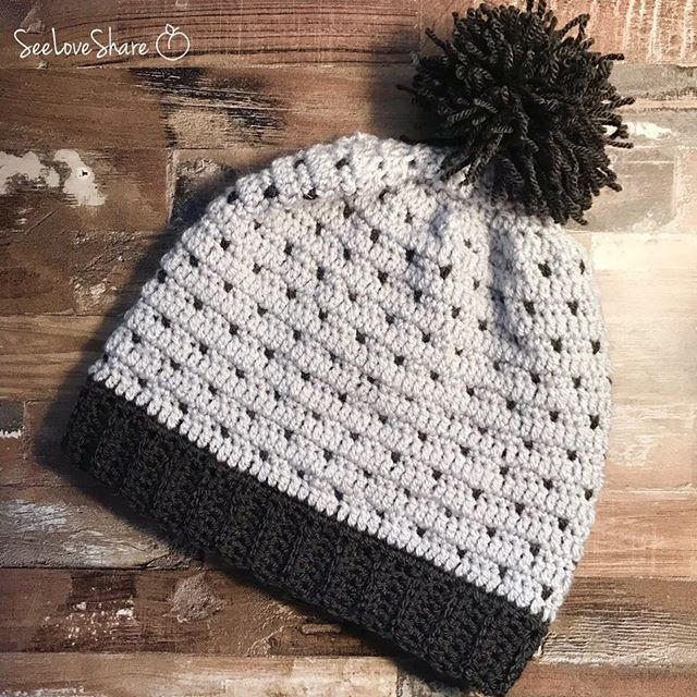 Simple Spotted Slouchy Beanie - Free Crochet Pattern