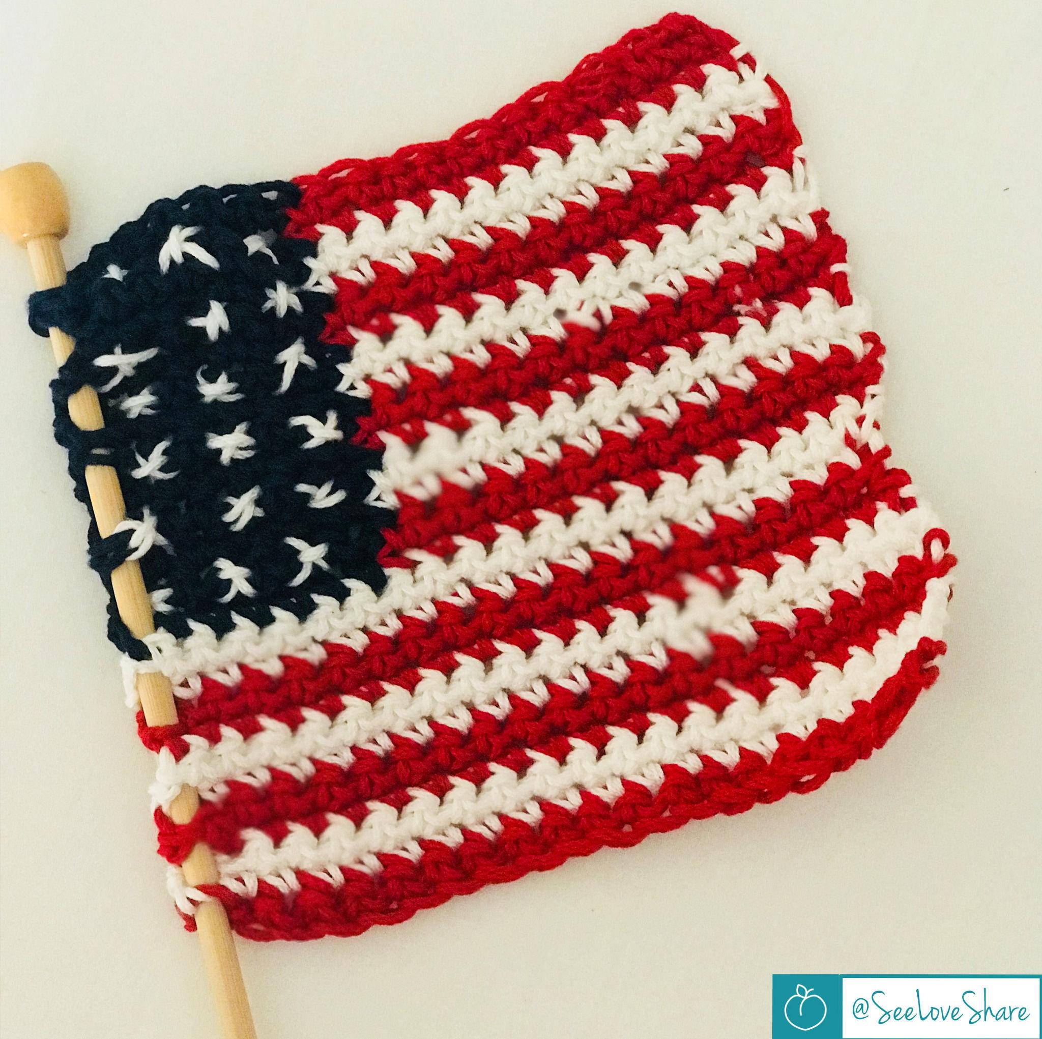 Rustic Crochet American Flag