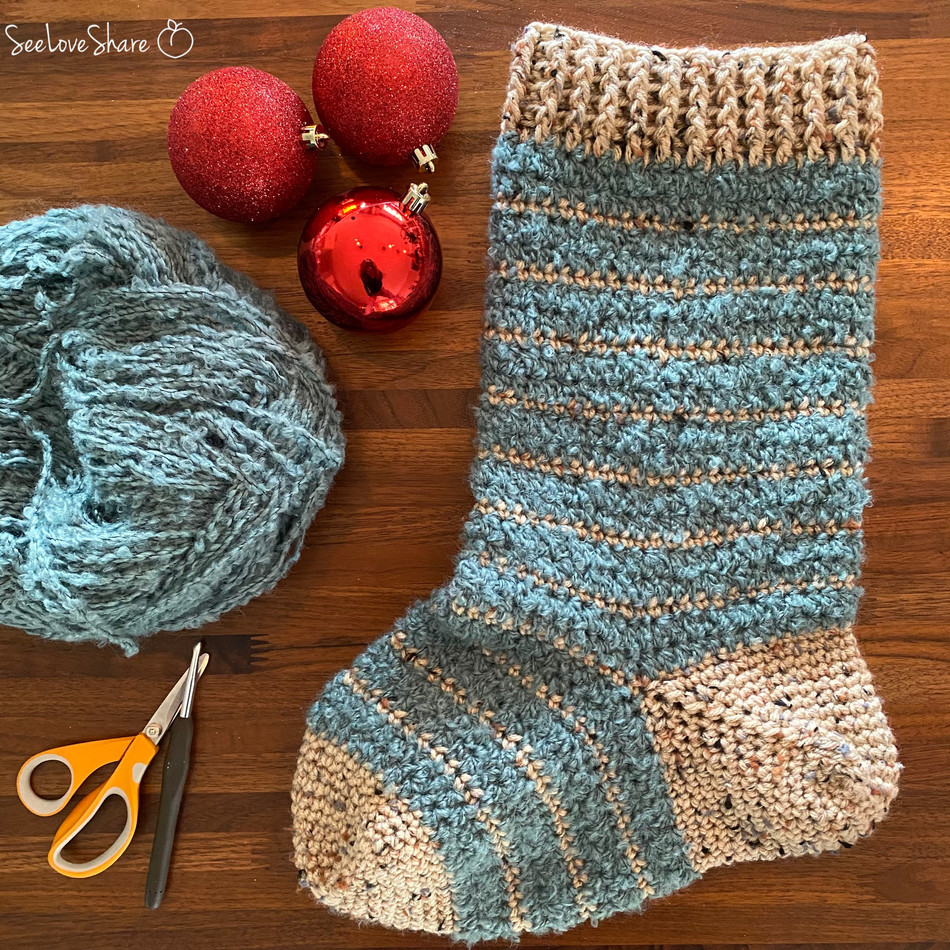 Evergreen Christmas Stocking - Free Crochet Pattern