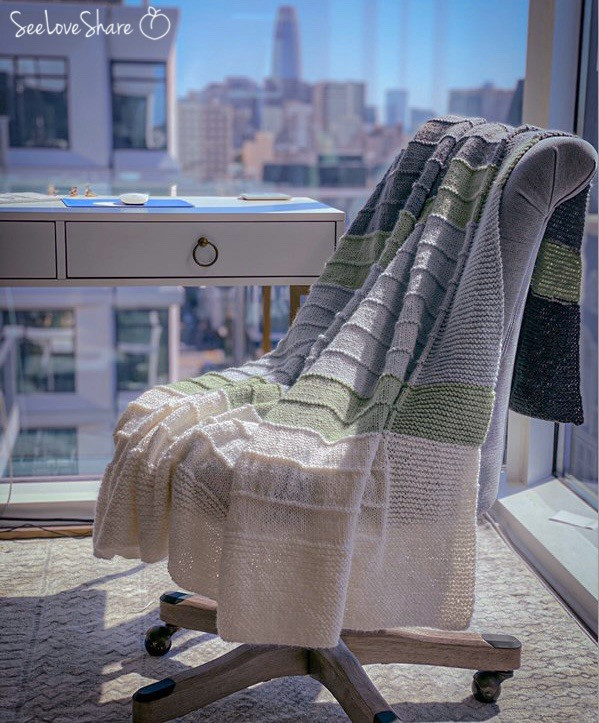 Simple Color Block Knit Throw