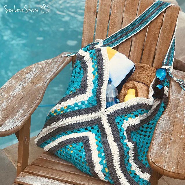 Mod Granny Square Beach Bag