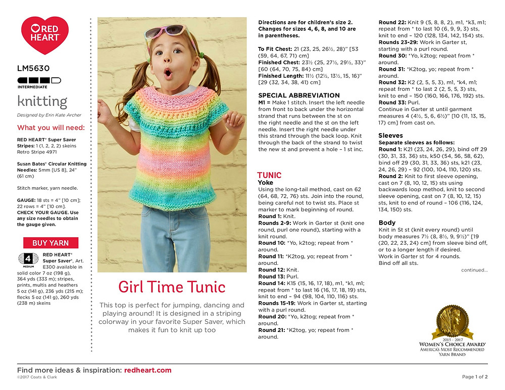 knit girl tunic pattern