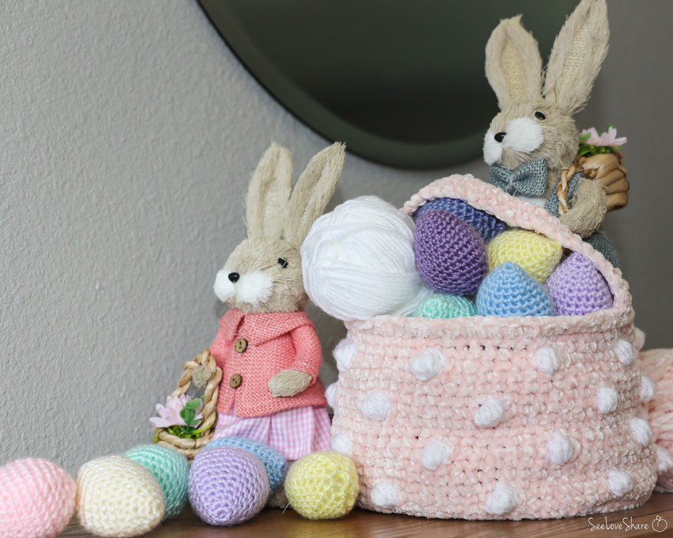 Polka-Dot Easter Basket - Free Crochet Pattern