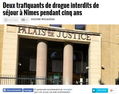 Midi-Libre : Deux trafiquants de drogue interdits de séjour à Nîmes