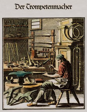 Der Trompetenmacher Kupferstich Christia