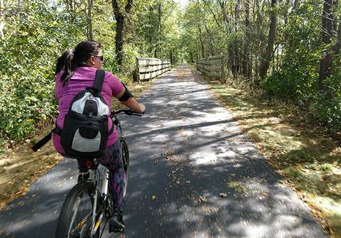 Girl on bike riding the North Coast Bike