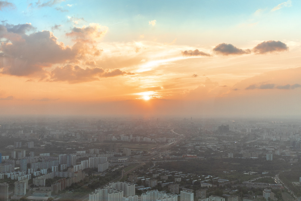 Sunset from the top of the Ostankino Tower in Moscow