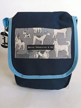 Sky and Navy Blue - Linen grey dogs