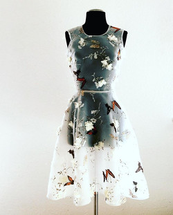 Butterfly organza dress with 3D flowers