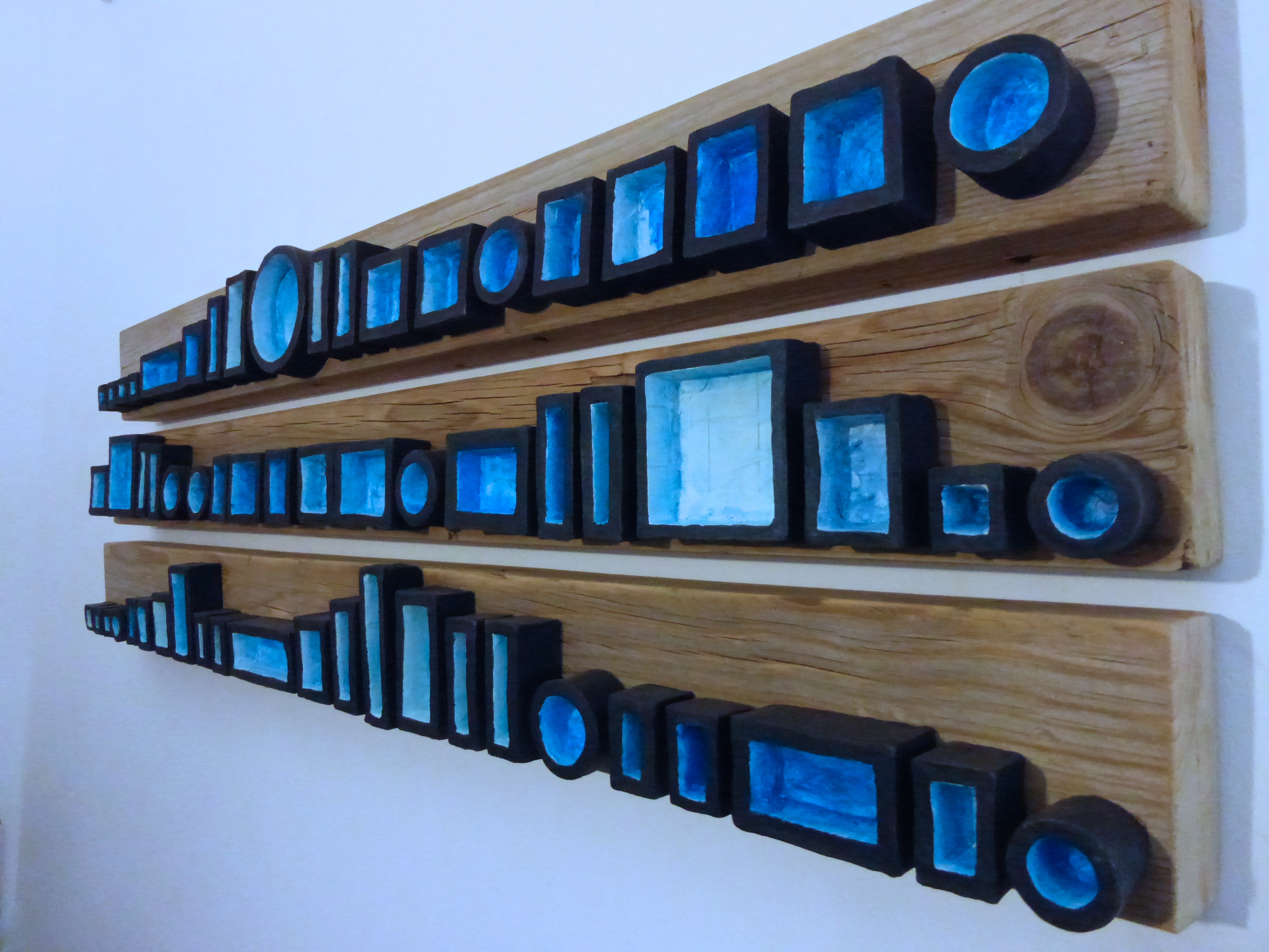Assemblage in Blue (triptych)