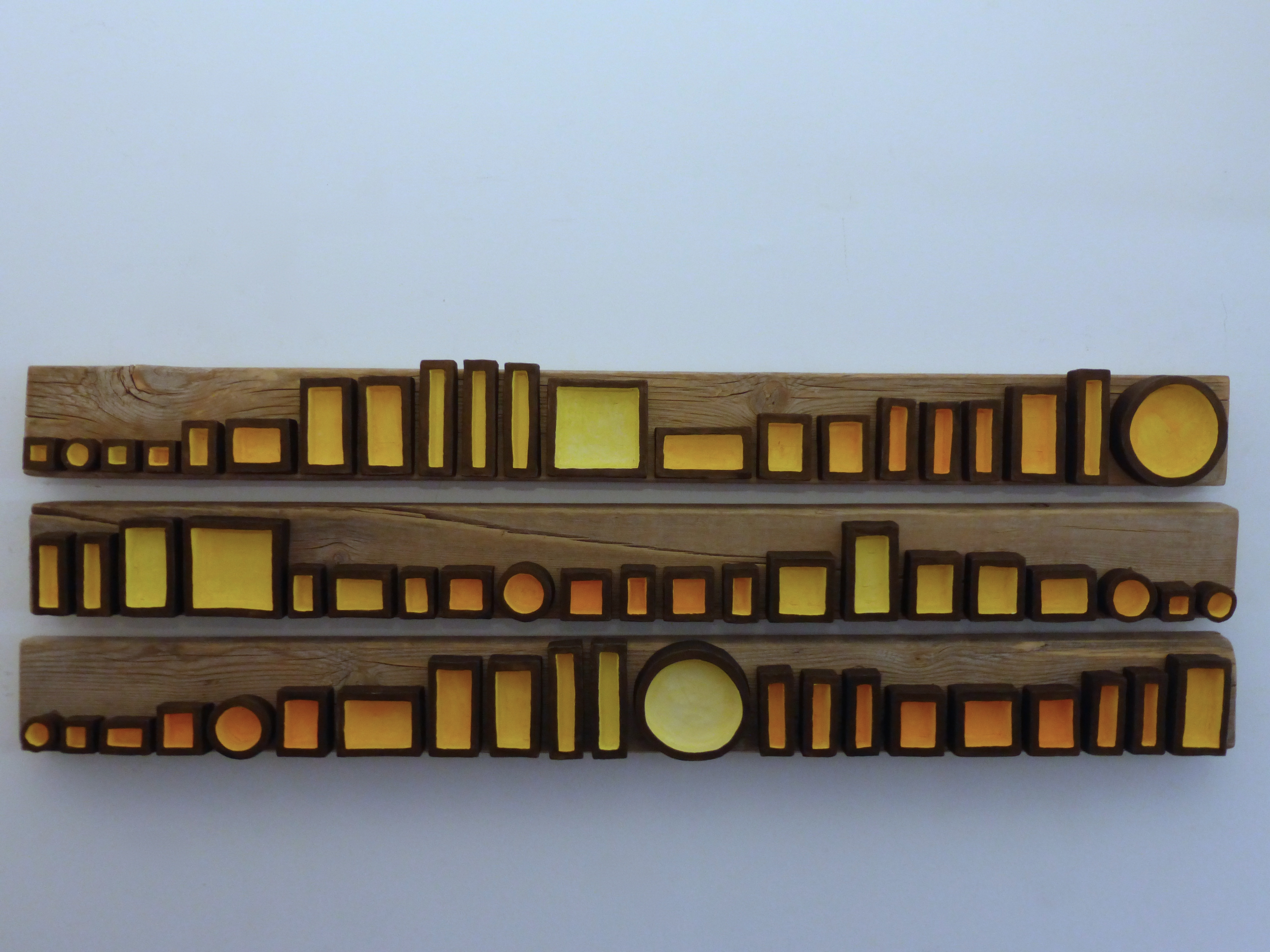 Assemblage in Yellow (triptych)