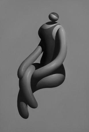 Sitting Girl 8 x 5 in 20.3 x 12.7 cm Oil on mylar