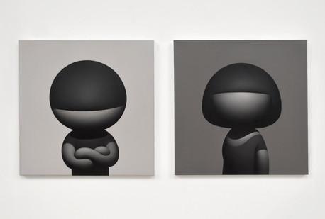 Siblings Set of 2 16 x 16 in 40.6 x 40.6 cm Oil on canvas