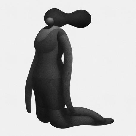 Kneeling Girl 10 x 10 in 25.4 x 25.4 cm Pen and ink on paper