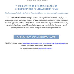 Scholarship Opportunity for Students living with Disabilities