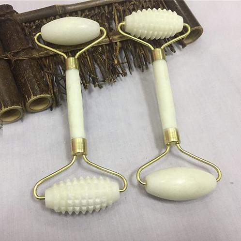 White Jade Facial Roller Massage Double Roller-רולר אבן גייד לבנה